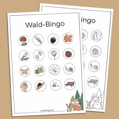 Wald-Bingo Vorlage zum Ausdrucken als PDF